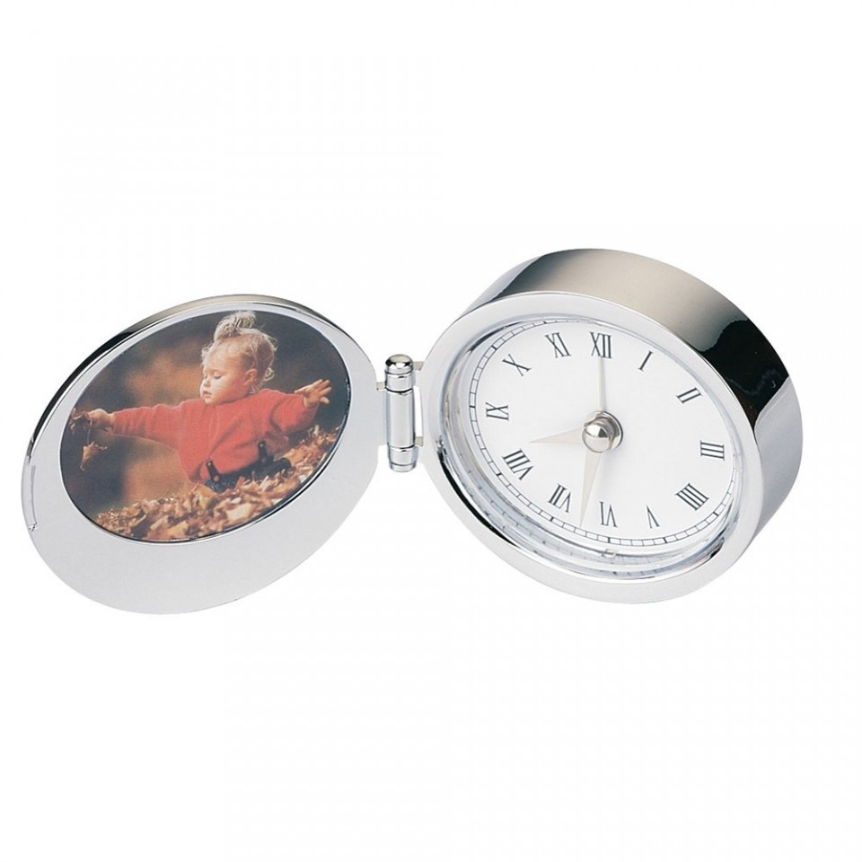 Chrome Oval Alarm Clock & Photoframe Tartan Trader