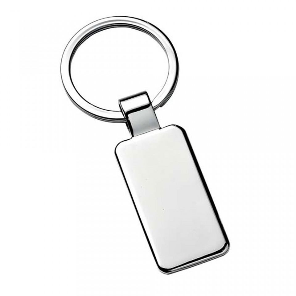Chrome Rectangular Keyring Tartan Trader
