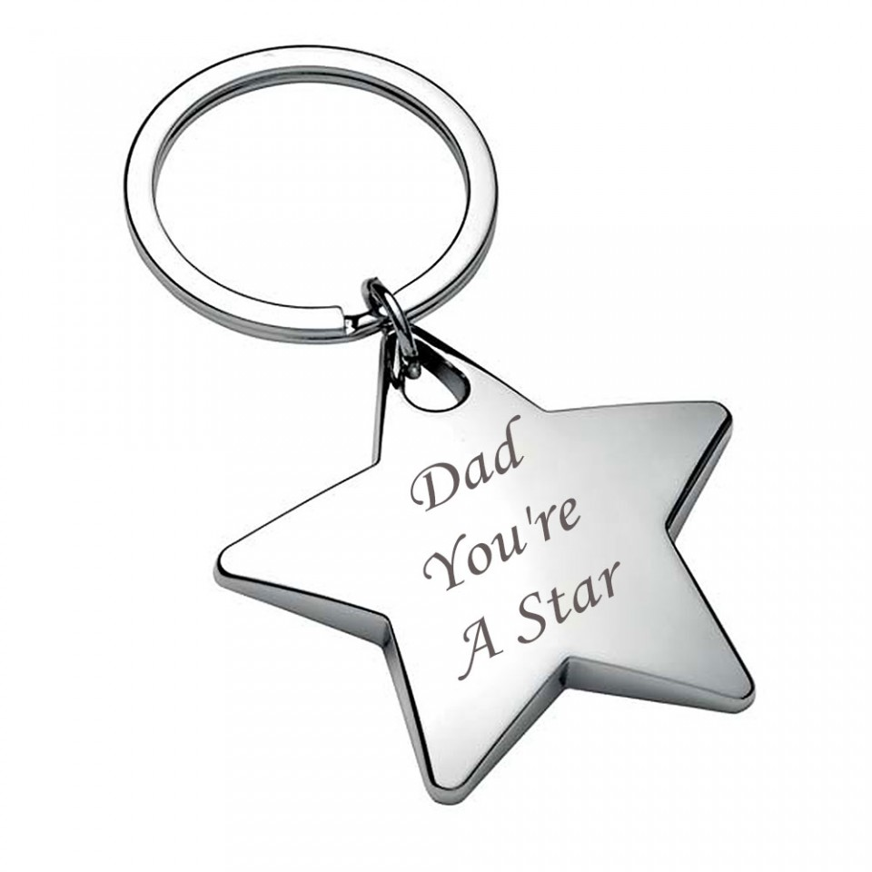 Shiny Chrome Star Keyring Dad Tartan Trader