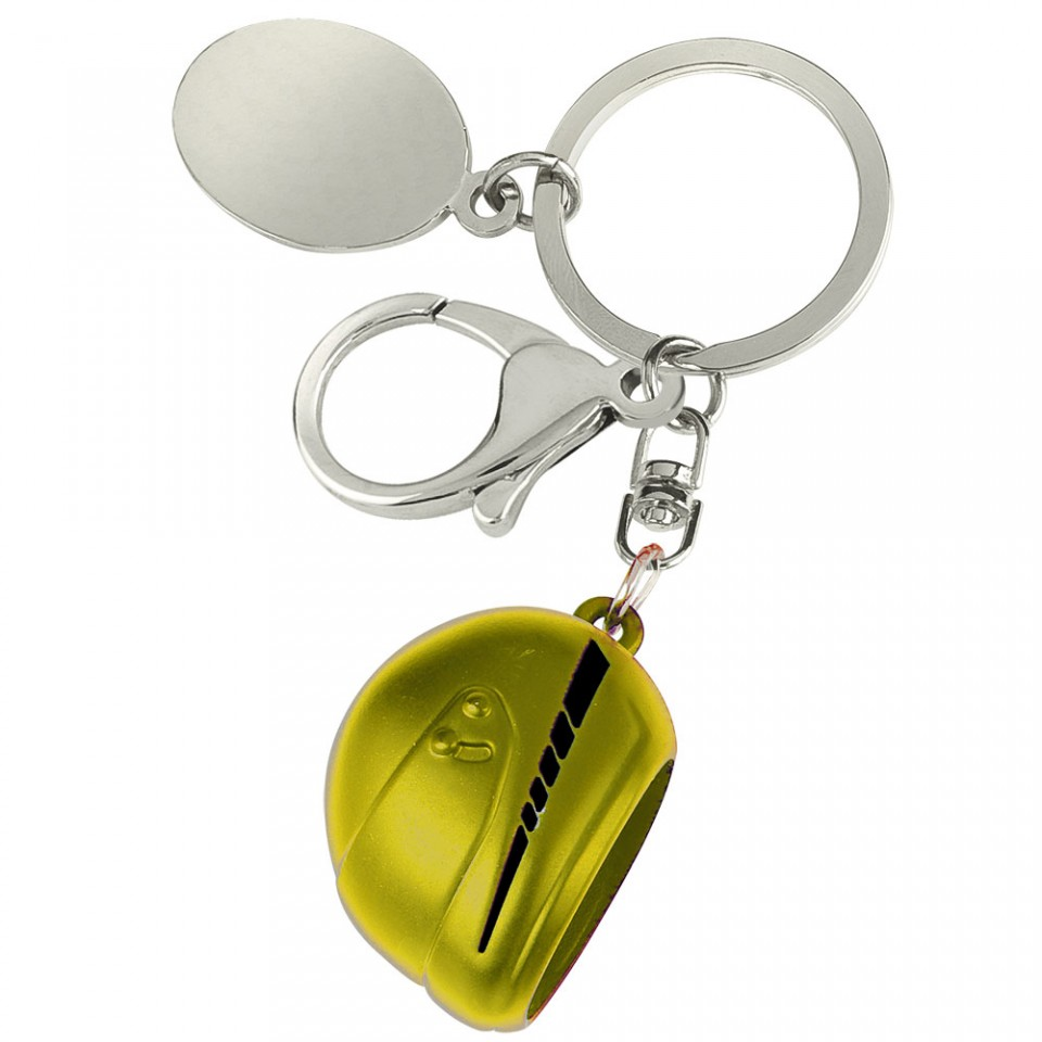 Yellow Motor Cycle Helmet Large Key Ring Tartan Trader