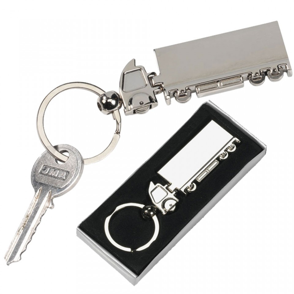 Lorry Keyring Chrome Finish Articulated with Large Split Ring Tartan Trader