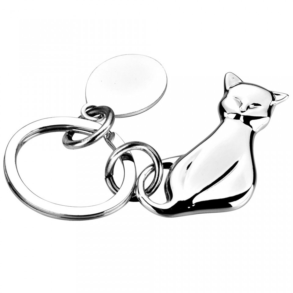 Silver Plated Cat Key Ring with Tag Tartan Trader