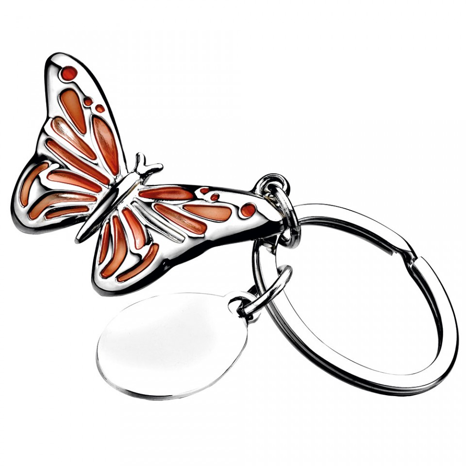 Silver Plated Orange Butterfly Keyring with Tag Tartan Trader