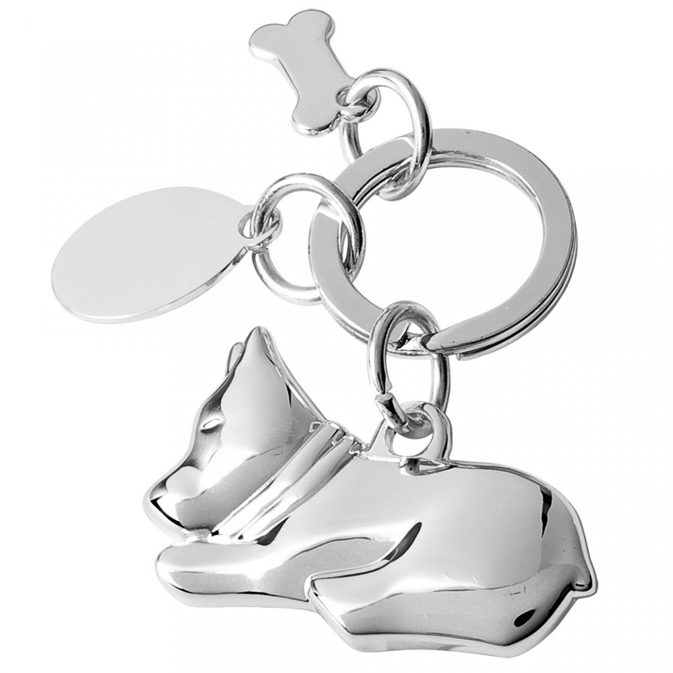 Fine Silver Plated Dog Keyring with Bone and Oval Tag Tartan Trader