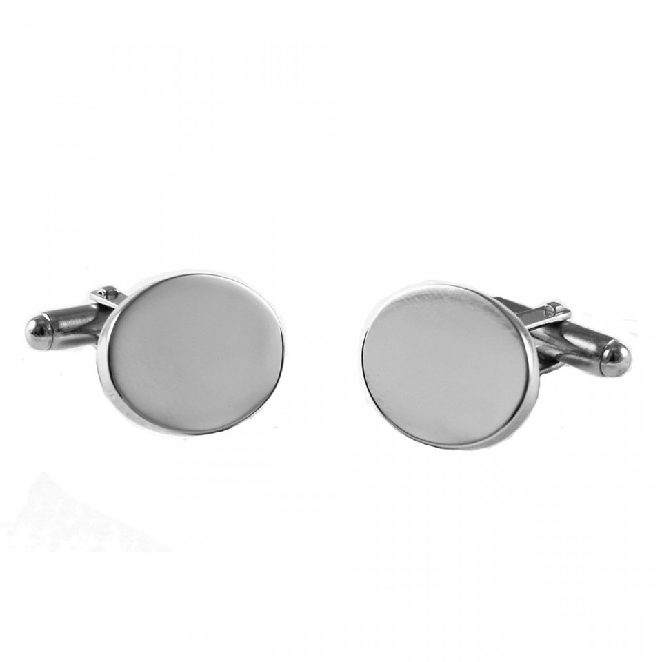 Oval Chrome Cufflinks in Navy Box Tartan Trader