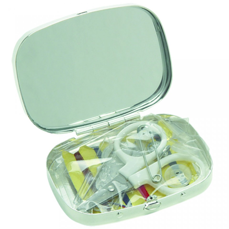 Silver Plated Sewing Kit with Mirror Tartan Trader