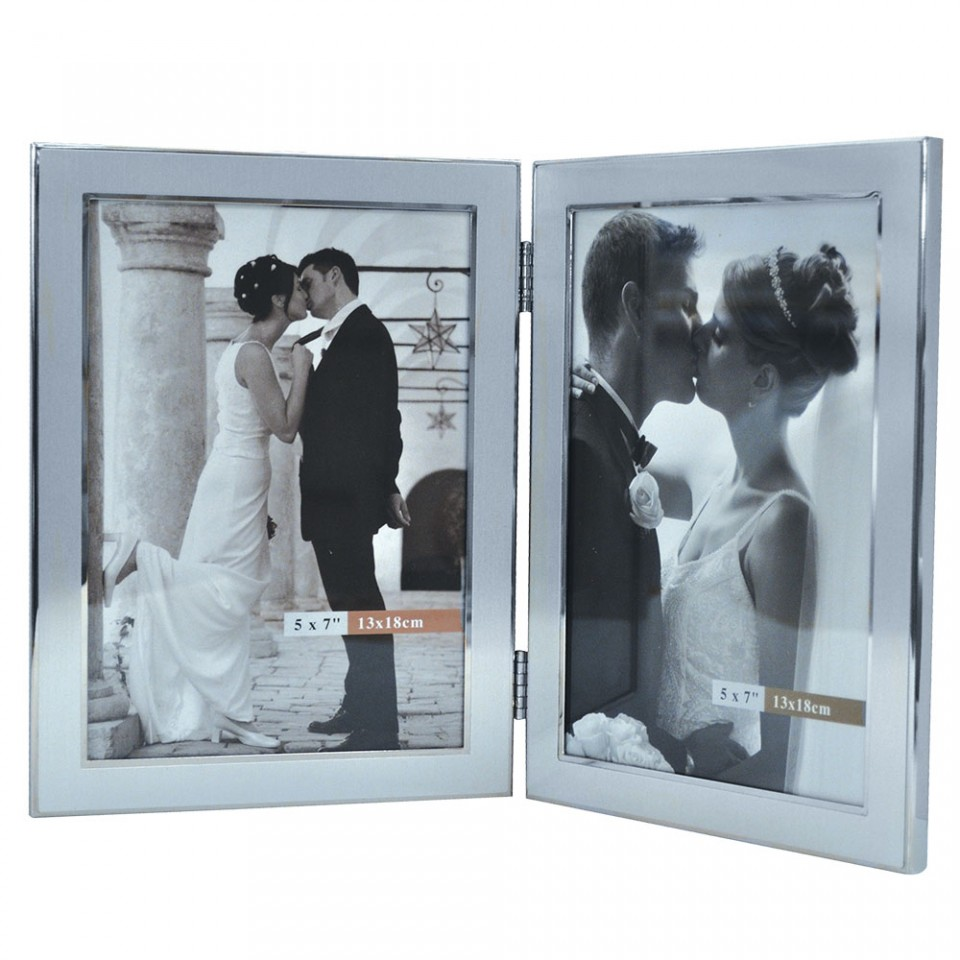 Brushed Metal Double Picture Frame Tartan Trader
