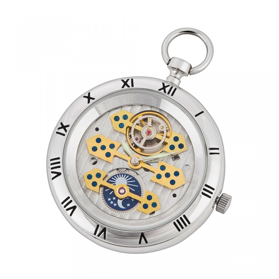 Silver Open Face Pocket Watch Tartan Trader