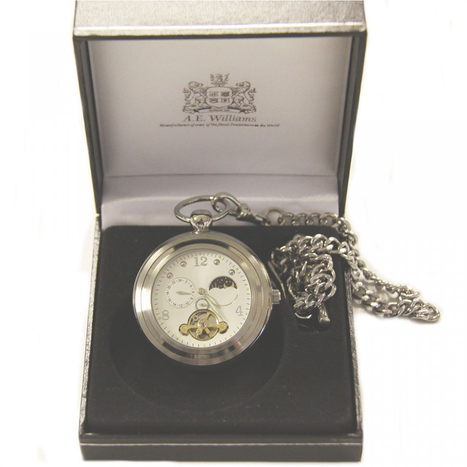 Silver Open Face Pocket Watch with Sun and Moon Phase Tartan Trader