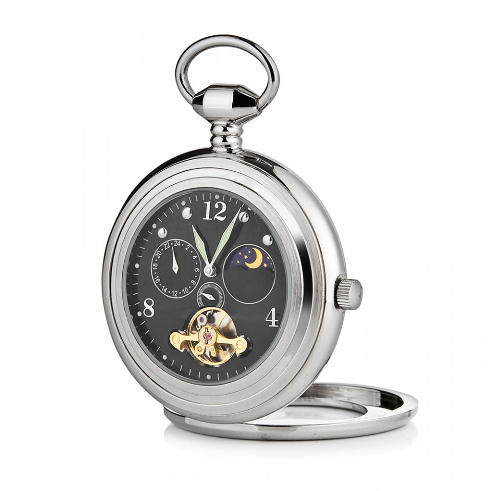 Black Open Face Pocket Watch with Sun and Moon Phase Tartan Trader