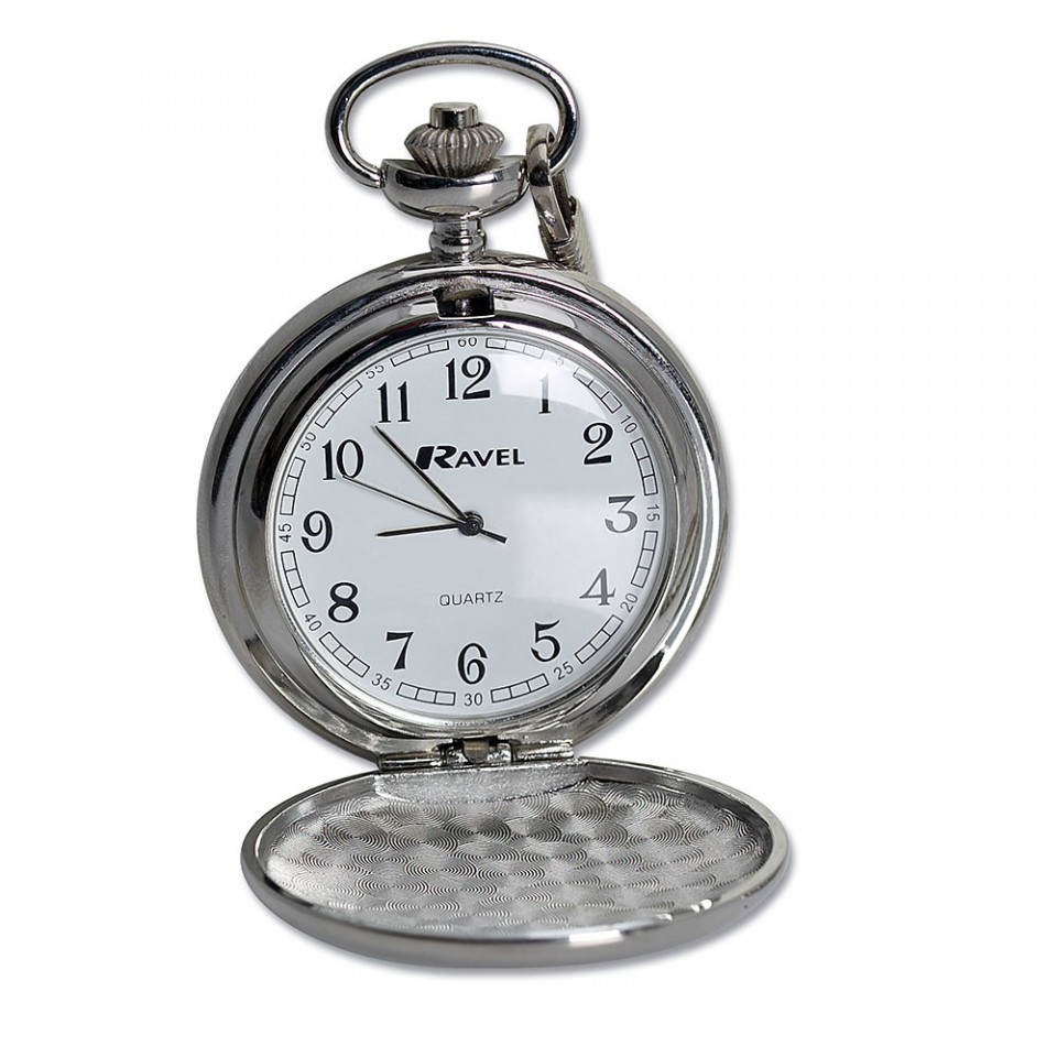 Chrome Plated Pocket Watch in Metal Presentation Box Tartan Trader