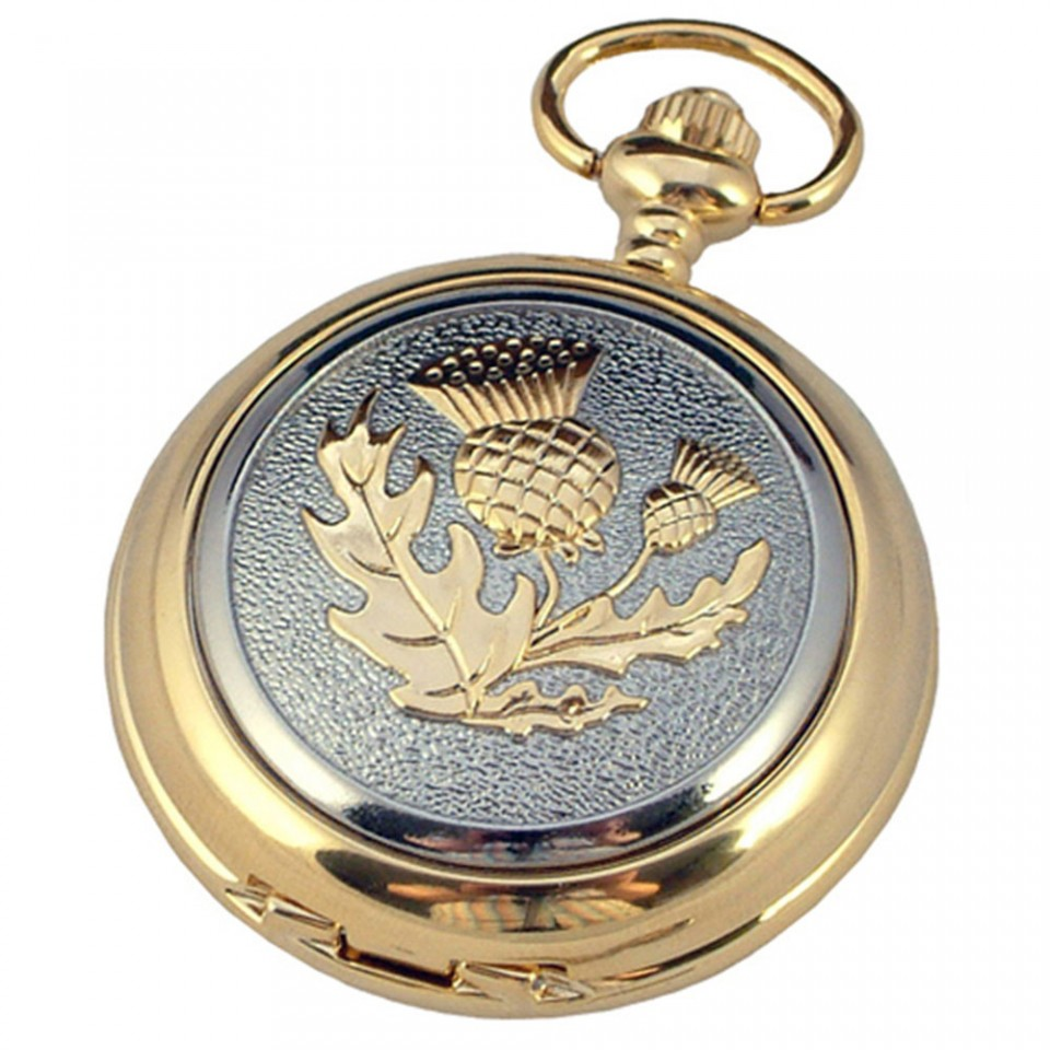 Gold Plated Pocket Watch with Thistle Design Tartan Trader