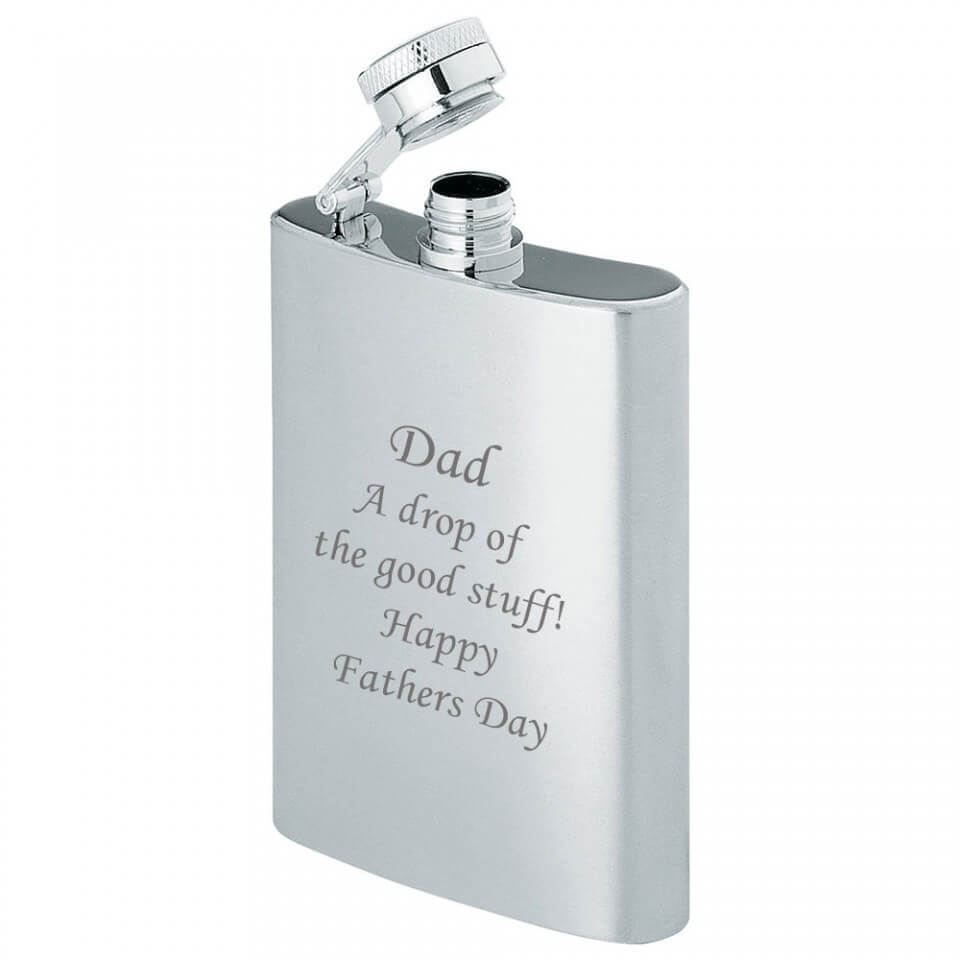 4oz Stainless Steel Hip Flask Engraved Dad A Drop of the Good Stuff Tartan Trader