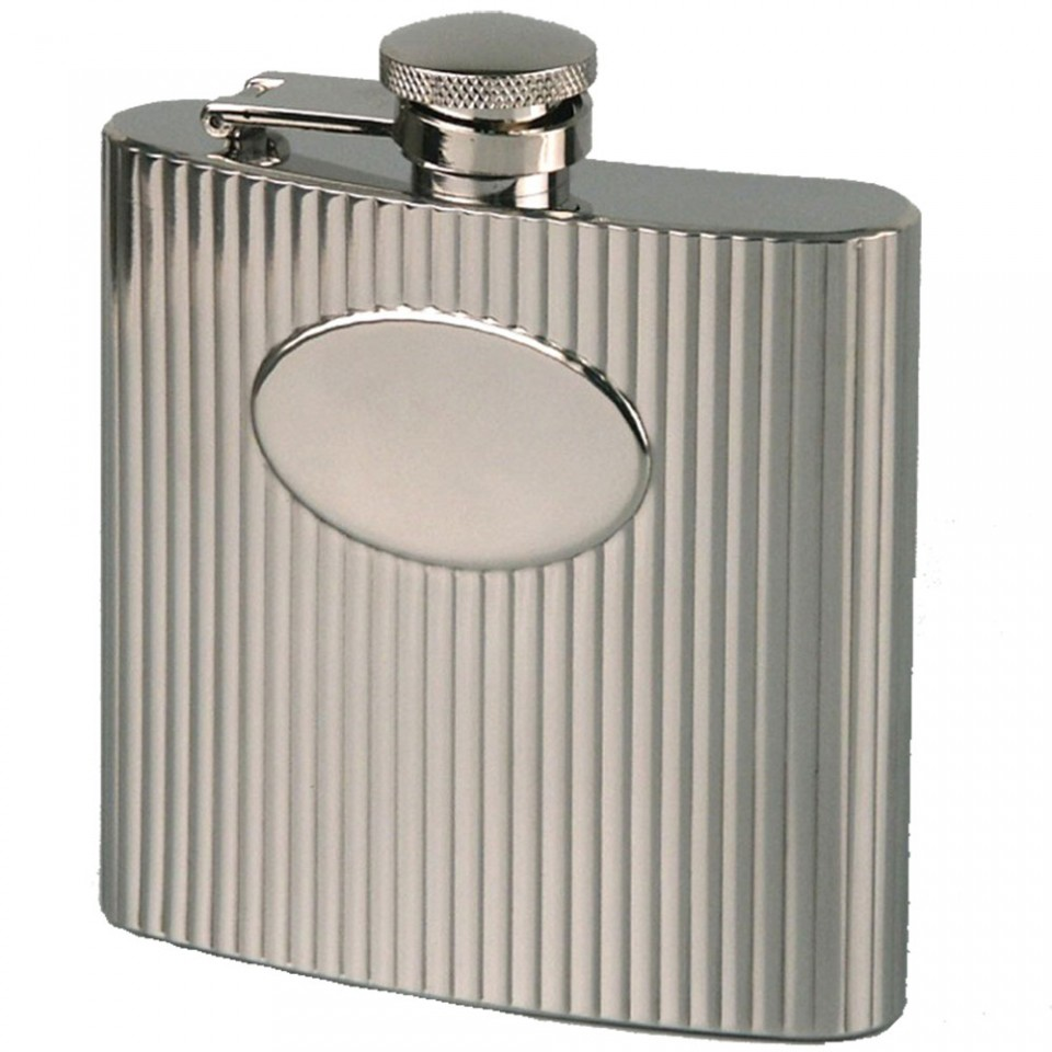 Ribbed 6oz Stainless Steel Hip Flask with Oval Panel Tartan Trader